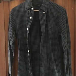 Small slim fit blue checked jcrew shirt